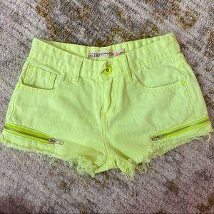Zara Neon Yellow Denim Shorts with Zipper Detail
